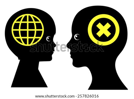 Generation Conflict. Concept sign of two generations referring to wide differences in modern communication technology  - stock photo