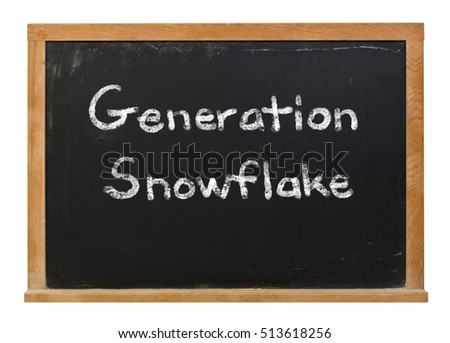 Generation Snowflake written in white chalk on a black chalkboard isolated on white
