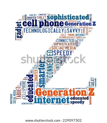 Generation Z in word collage - stock photo