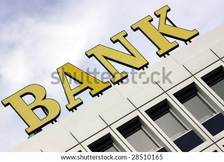 Generic bank sign on a modern office building - stock photo