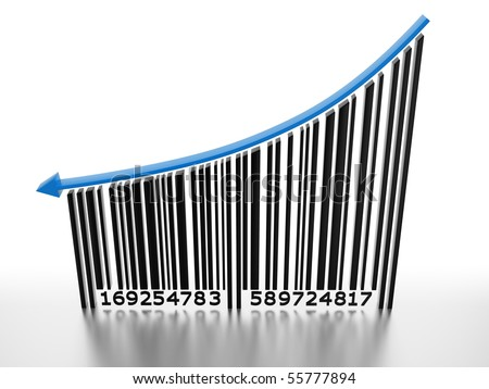Generic barcode with arrow pointing down. Conceptual image, price is going down. - stock photo