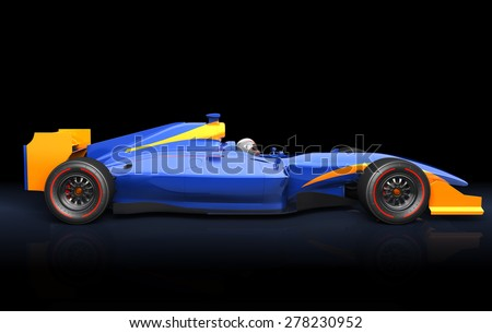 Generic blue race car on the black background. Race car with no brand name is designed and modelled by myself and not exist in real life - stock photo