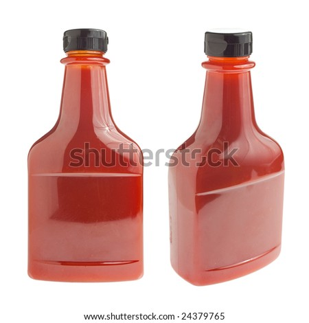 Generic bottle of ketchup / barbecue sauce - two angles - stock photo