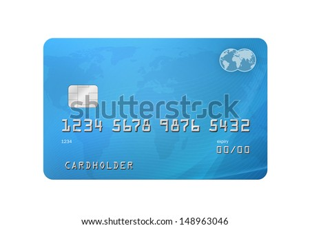 Generic Credit/Debit Card with world map on the background and corporate colours of grey and blue. Isolated on a white background with clipping path - stock photo