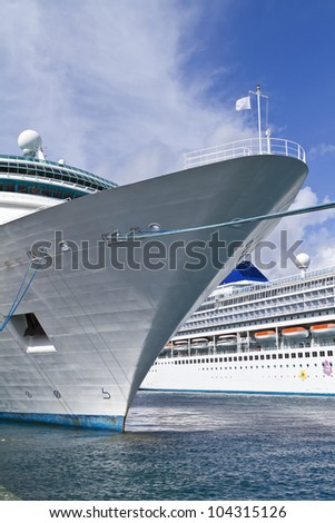 generic cruise ship docked with white flag - stock photo