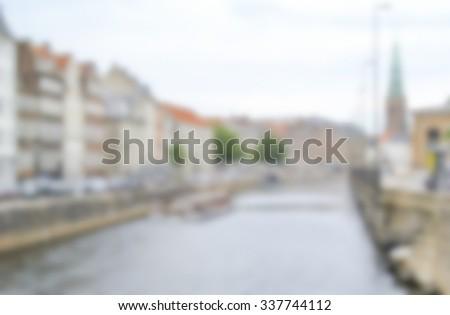 Generic defocused Background of Copenhagen, Denmark. Intentionally blurred post production for bokeh effect. - stock photo