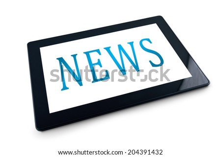 Generic digital tablet computer on white background with NEWS title. 10 inch display tablet computer as modern technology high tech gadget in media era. - stock photo