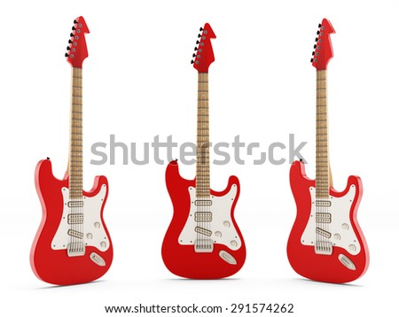 Generic electric guitars isolated on white background