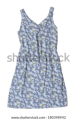 Generic floral print summer dress on white  - stock photo