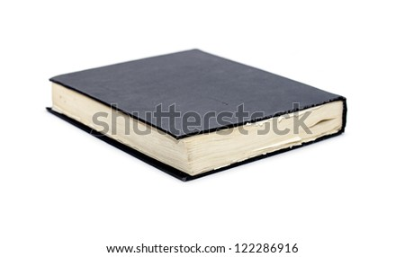 Generic hard bound black book with blank cover, isolated on white background. - stock photo