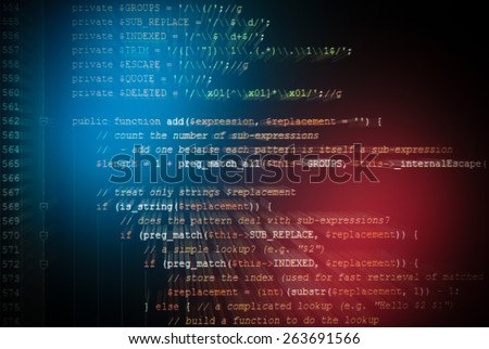 generic javascript code of web page - stock photo