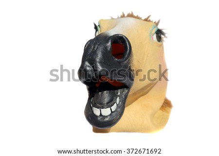 Generic Latex Horse Head Mask. Isolated on white with room for your text. - stock photo
