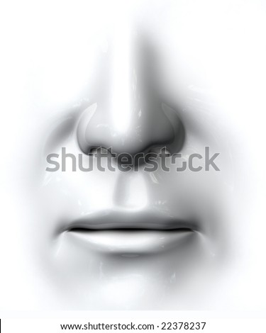 Generic nose and mouth on white background - stock photo