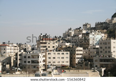 Generic palestinian homes, usable to represent all the cities of the territory. West Bank / Gaza - stock photo