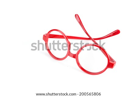 generic red fashion glasses isolated on white - stock photo