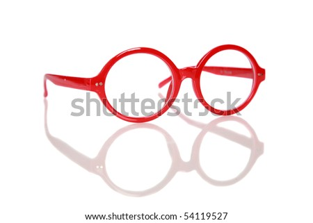 generic red fashion glasses with reflections isolated on white - stock photo
