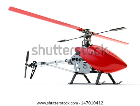 Generic red remote controlled helicopter isolated on white background - stock photo