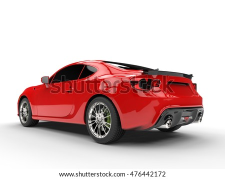 Generic red sports car - rear left view - 3D Render