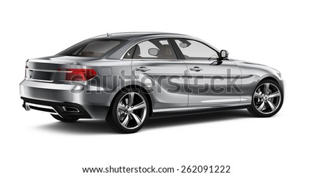 Generic silver car on  white - rear view - stock photo
