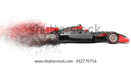 Generic  sport car with trail of dust.  This is 3D model and this sport car doesn't exist in real life - stock photo