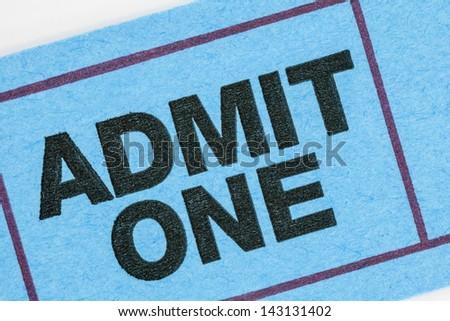 Generic ticket admit one macro detail. - stock photo