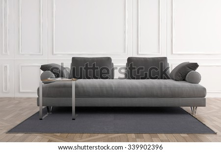 Generic upholstered grey couch in a white panelled room on a small carpet over a wooden parquet floor, Architectural background. 3d rendering - stock photo