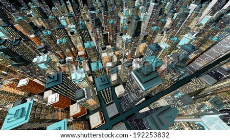 Generic urban architecture and skyscrapers forming a huge city at night. 3D rendered Illustration. - stock photo