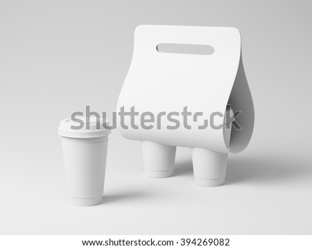 Generic white empty cupholder template - stock photo