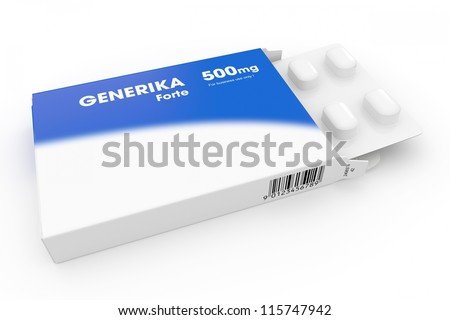 Generika medical pill box with blue label - stock photo