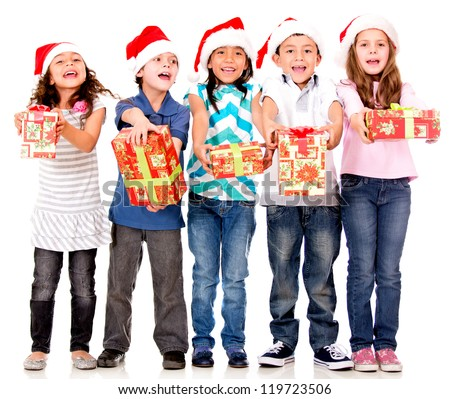 Generous kids giving Christmas presents - isolated over a white background - stock photo