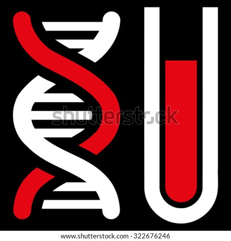 Genetic Analysis glyph icon. Style is bicolor flat symbol, red and white colors, rounded angles, black background. - stock photo