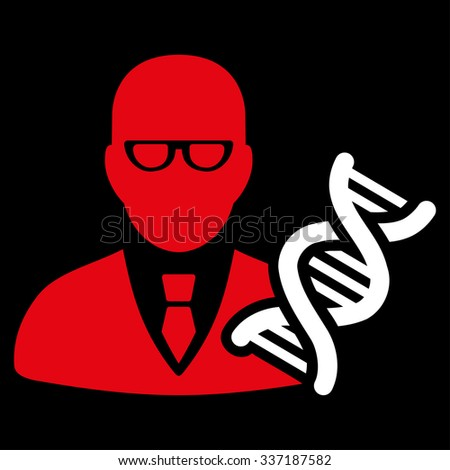 Genetic Engineer illustration icon. Style is bicolor flat symbol, red and white colors, rounded angles, black background. - stock photo