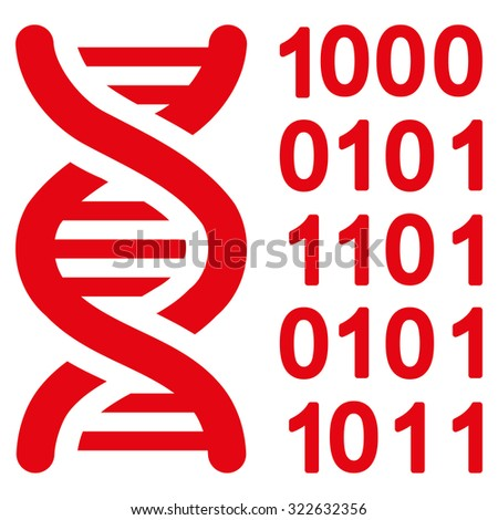 Genetical Code glyph icon. Style is flat symbol, red color, rounded angles, white background. - stock photo