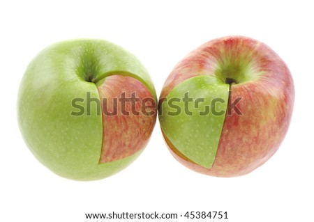 Genetically modified apple concept. White background studio image. - stock photo