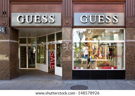 GENEVA - AUGUST 3: A retail outlet for GUESS on August 3, 2013 in Geneva, Switzerland. GUESS operates 512 stores in the U.S. and Canada and 320 stores outside of the U.S. and Canada in 2013.