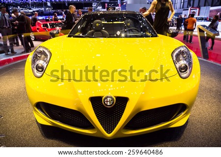 GENEVA, MAR 3: Alfa Romeo 4C Spider, presented at the 85th International Motor Show in Geneva, Switzerland on March 3, 2015. - stock photo