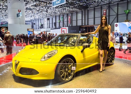 GENEVA, MAR 3: Alfa Romeo 4C Spider with model, presented at the 85th International Motor Show in Geneva, Switzerland on March 3, 2015. - stock photo
