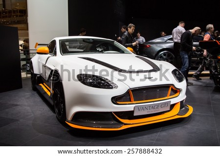 GENEVA, MAR 3: Aston Martin Vantage GT3, presented at the 85th International Motor Show in Geneva, Switzerland on March 3, 2015. - stock photo