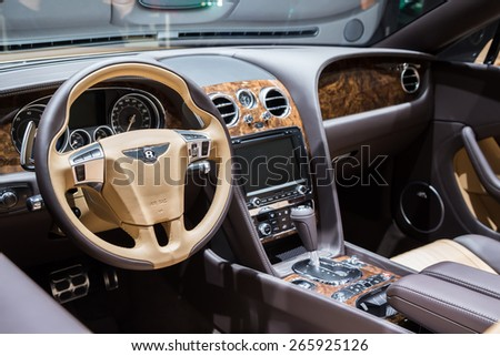 GENEVA, MAR 3: Bentley Exp 10 Speed 6 Concept car interior, presented at the 85th International Motor Show in Geneva, Switzerland on March 3, 2015. - stock photo