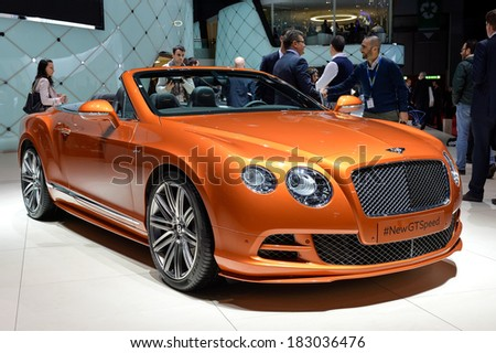 GENEVA, MAR 4: Bentley GTC displayed at the 84th International Motor Show International Motor Show in Geneva, Switzerland on March 4, 2014. - stock photo