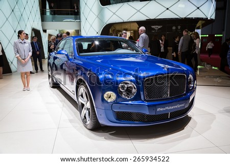 GENEVA, MAR 3: Bentley Mulsanne Speed car, presented at the 85th International Motor Show in Geneva, Switzerland on March 3, 2015. - stock photo