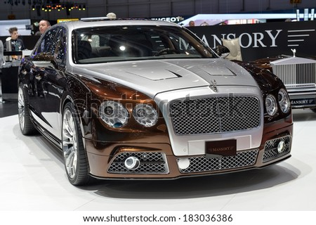 GENEVA, MAR 4: Bentley styled by Mansory displayed at the 84th International Motor Show International Motor Show in Geneva, Switzerland on March 4, 2014. - stock photo