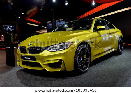 GENEVA, MAR 4: BMW M4, displayed at the 84th International Motor Show International Motor Show in Geneva, Switzerland on March 4, 2014. - stock photo