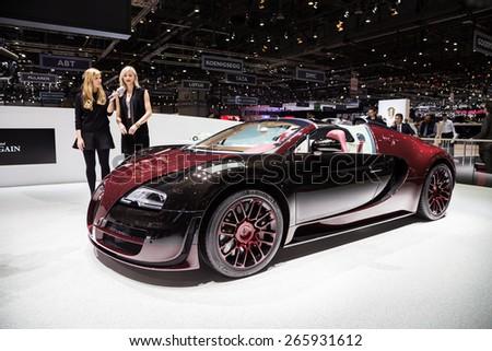 GENEVA, MAR 3: Bugatti Veyron La Finale car, presented at the 85th International Motor Show in Geneva, Switzerland on March 3, 2015. - stock photo