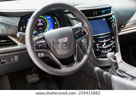 GENEVA, MAR 3: 2016 Cadillac ELR car interiors, presented at the 85th International Motor Show in Geneva, Switzerland on March 3, 2015. - stock photo