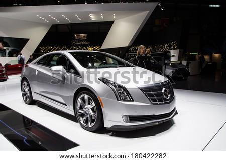 GENEVA, MAR 3: Cadillac ELR, presented at the 84th International Motor Show in Geneva, Switzerland on March 3, 2014. - stock photo