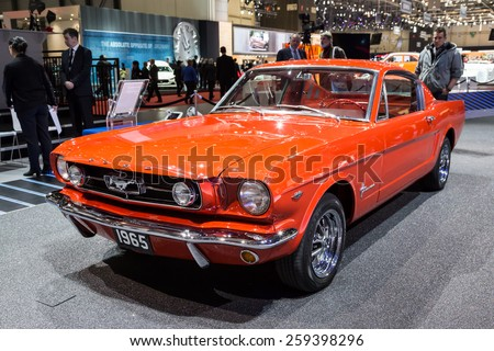 GENEVA, MAR 3: 1965 Ford Mustang 289, presented at the 85th International Motor Show in Geneva, Switzerland on March 3, 2015. - stock photo