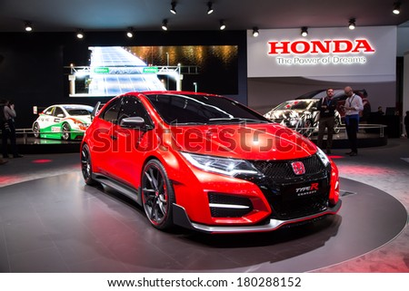 GENEVA, MAR 4: Honda Civic Type R, presented at the 84th International Motor Show in Geneva, Switzerland on March 4, 2014. - stock photo