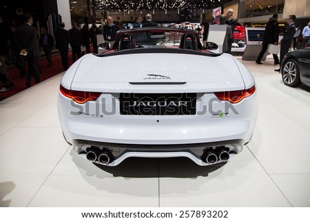 GENEVA, MAR 3: Jaguar F-type, presented at the 85th International Motor Show in Geneva, Switzerland on March 3, 2015. - stock photo