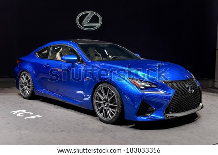 GENEVA, MAR 4: Lexus RCF concept, displayed at the 84th International Motor Show International Motor Show in Geneva, Switzerland on March 4, 2014. - stock photo